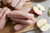 Pork and apple sausages from The Primrose Herd online shop and Farm Butchery